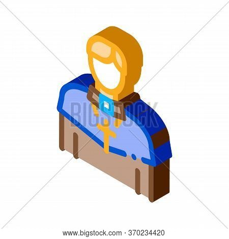 Christian Monk Icon Vector. Isometric Christian Monk Sign. Color Isolated Symbol Illustration