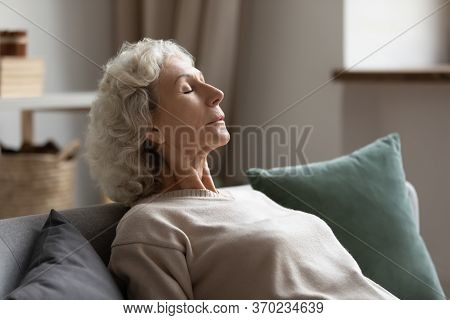 Peaceful Mature Woman Relax On Couch Taking Nap