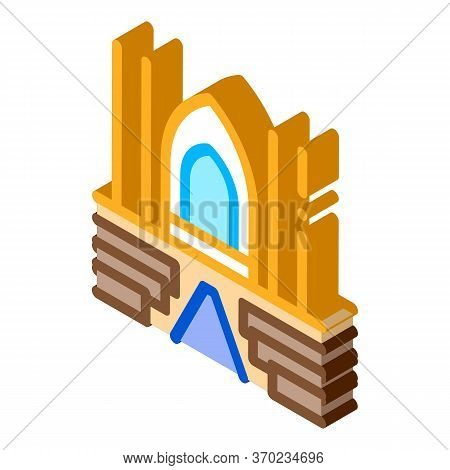 View Inside Catholic Church Icon Vector. Isometric View Inside Catholic Church Sign. Color Isolated