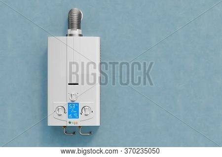 Gas Boiler, Water Heater On The Blue Wall. 3d Rendering