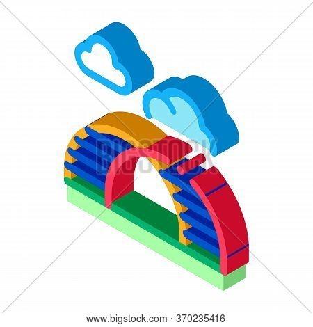 Semicircular Hill Ladder Rainbow Icon Vector. Isometric Semicircular Hill Ladder Rainbow Sign. Color