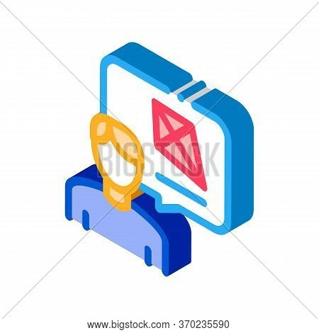Human Desire To Fly Kite Icon Vector. Isometric Human Desire To Fly Kite Sign. Color Isolated Symbol