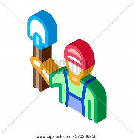 Shovel Worker Icon Vector. Isometric Shovel Worker Sign. Color Isolated Symbol Illustration