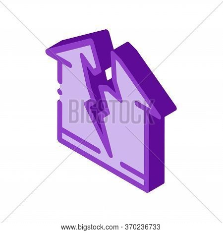 Lightning Destroyed House Icon Vector. Isometric Lightning Destroyed House Sign. Color Isolated Symb