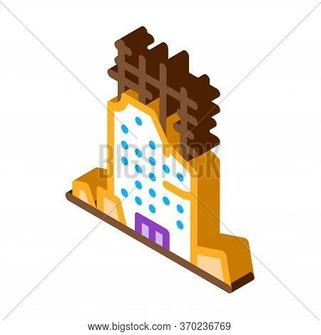 Collapse Of House To Initial Foundation Icon Vector. Isometric Collapse Of House To Initial Foundati