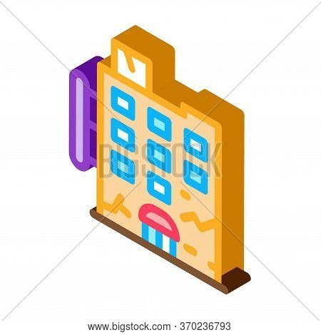 Crack On Residential Building Icon Vector. Isometric Crack On Residential Building Sign. Color Isola