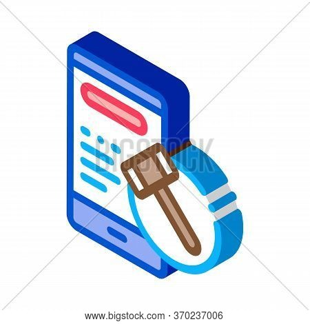 Phone Version Of Auction Icon Vector. Isometric Phone Version Of Auction Sign. Color Isolated Symbol