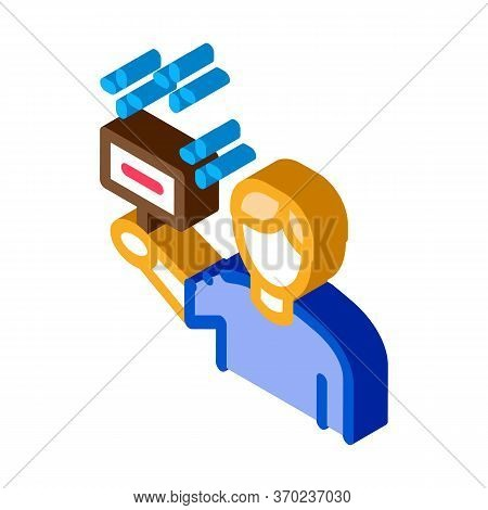 Bidder Holding Sign Icon Vector. Isometric Bidder Holding Sign Sign. Color Isolated Symbol Illustrat