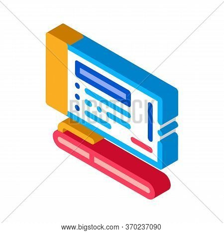 To Fill Out Check With Pen Icon Vector. Isometric To Fill Out Check With Pen Sign. Color Isolated Sy