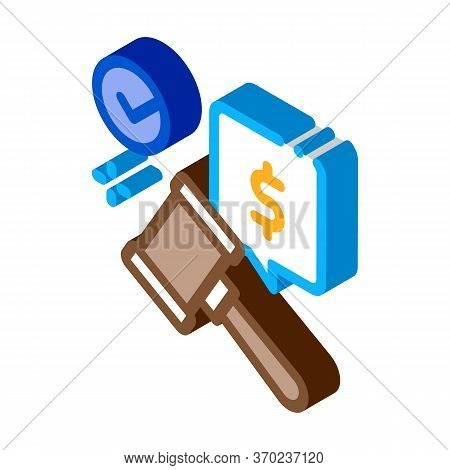 Auction Hammer Hit For Sale Approval Icon Vector. Isometric Auction Hammer Hit For Sale Approval Sig