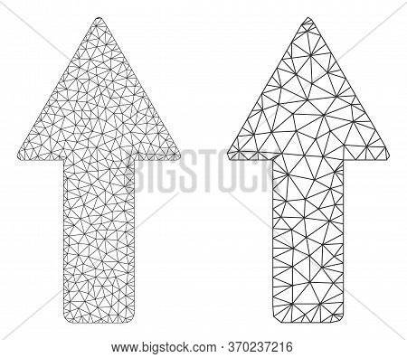 Network Vector Arrow Up Icon. Mesh Carcass Arrow Up Image In Lowpoly Style With Organized Triangles,