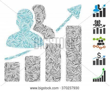 Hatch Mosaic Based On Audience Growth Bar Chart Icon. Mosaic Vector Audience Growth Bar Chart Is Com