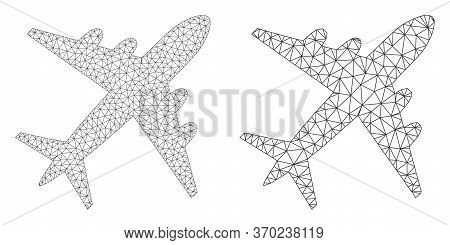 Mesh Vector Airplane Icon. Mesh Wireframe Airplane Image In Lowpoly Style With Connected Triangles,
