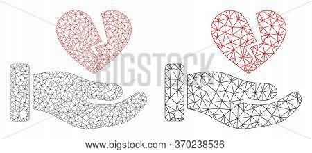 Mesh Vector Break Heart Offer Icon. Polygonal Wireframe Break Heart Offer Image In Lowpoly Style Wit