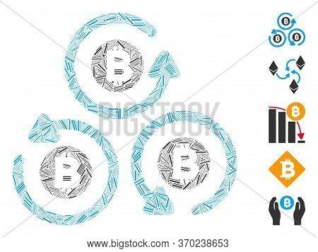 Hatch Mosaic Based On Bitcoin Mixer Rotation Icon. Mosaic Vector Bitcoin Mixer Rotation Is Created W