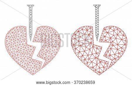 Triangular Vector Break Valentine Heart Icon. Mesh Carcass Break Valentine Heart Image In Low Poly S