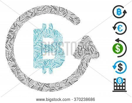 Hatch Mosaic Based On Bitcoin Refund Icon. Mosaic Vector Bitcoin Refund Is Composed With Scattered H