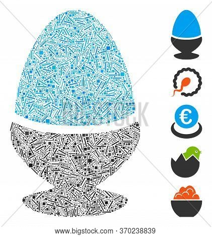 Dash Mosaic Based On Boiled Egg Icon. Mosaic Vector Boiled Egg Is Composed With Randomized Dash Spot
