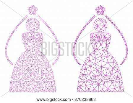 Mesh Vector Bride Icon. Mesh Carcass Bride Image In Low Poly Style With Connected Triangles, Nodes A