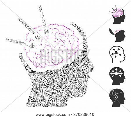 Line Mosaic Based On Brain Autopsy Icon. Mosaic Vector Brain Autopsy Is Composed With Scattered Line