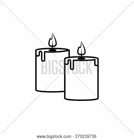 Aromatic Candle Line Illustration Icon On White Background