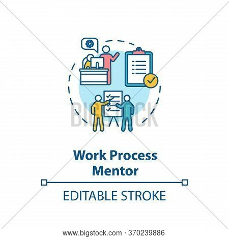 Work Process Mentor Concept Icon. Professional Guidance And Supervision Idea Thin Line Illustration.