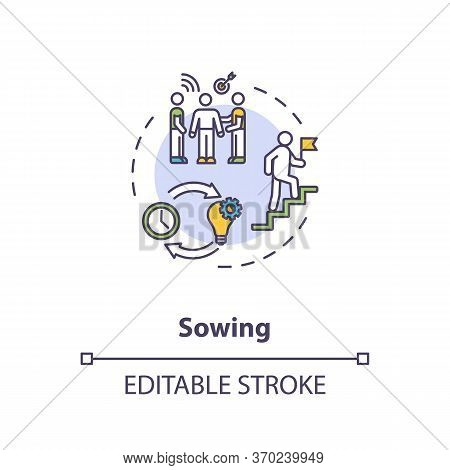 Sowing Concept Icon. Mentoring Technique, Teaching Strategy Idea Thin Line Illustration. Preparing A