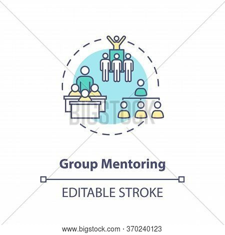 Group Mentoring Concept Icon. Collective Mentorship Model. Educational Seminars, Conferences And Sch