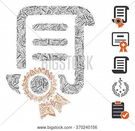 Line Mosaic Based On Certified Scroll Document Icon. Mosaic Vector Certified Scroll Document Is Desi