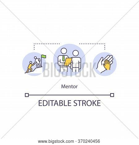 Mentor Concept Icon. Student And Teacher Relationship, Senior Expert Assistance Idea Thin Line Illus