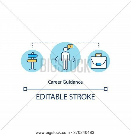 Career Guidance Concept Icon. Professional Education, Employment Opportunities Idea Thin Line Illust