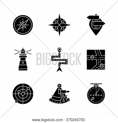 Navigation Black Glyph Icons Set On White Space. Geographical Location Positioning, Cartography Silh