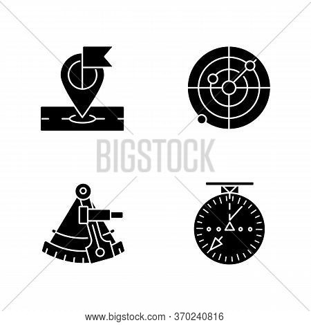Navigation Black Glyph Icons Set On White Space. Navigation In Sea, Sky And On Land Silhouette Symbo