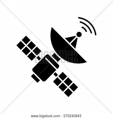 Space Satellite Black Glyph Icon. Cosmos Exploration, Modern Telecommunication, Aerospace Industry S