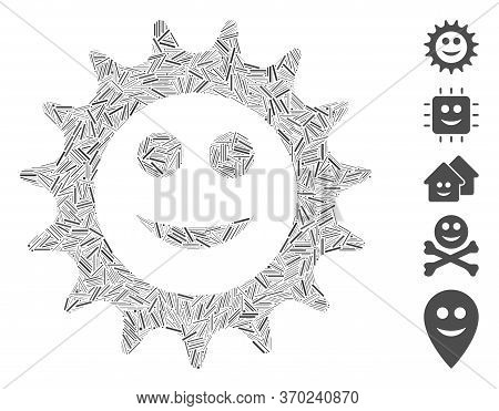 Line Mosaic Based On Cog Glad Smiley Icon. Mosaic Vector Cog Glad Smiley Is Composed With Scattered