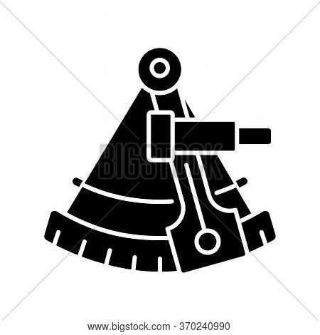 Sextant Black Glyph Icon. Celestial Navigation, Geography Silhouette Symbol On White Space. Old Fash