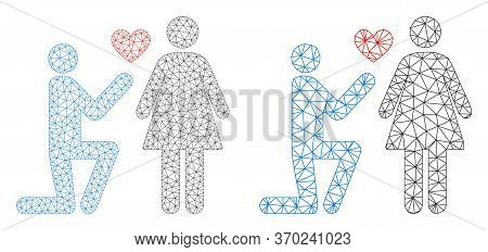 Polygonal Vector Engagement Persons Icon. Polygonal Carcass Engagement Persons Image In Lowpoly Styl