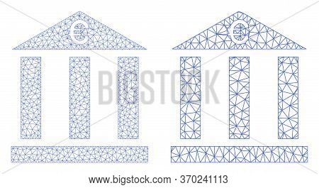 Mesh Vector Euro Bank Building Icon. Mesh Wireframe Euro Bank Building Image In Lowpoly Style With C