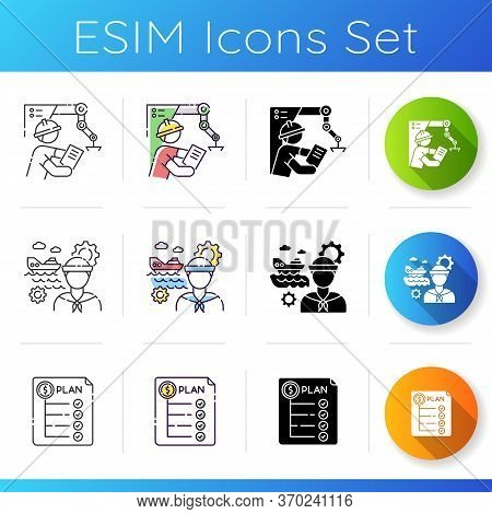Engineer Labor Icons Set. Project Manager In Factory. Marine Engineer. Expenditure Plan. Financial R