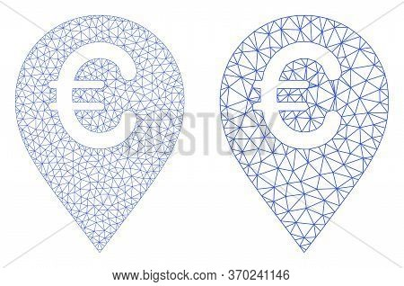 Mesh Vector Euro Map Marker Icon. Mesh Wireframe Euro Map Marker Image In Lowpoly Style With Connect