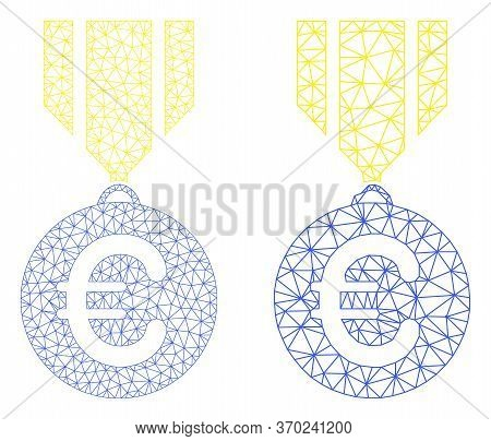 Mesh Vector Euro Medal Icon. Mesh Carcass Euro Medal Image In Low Poly Style With Organized Triangle