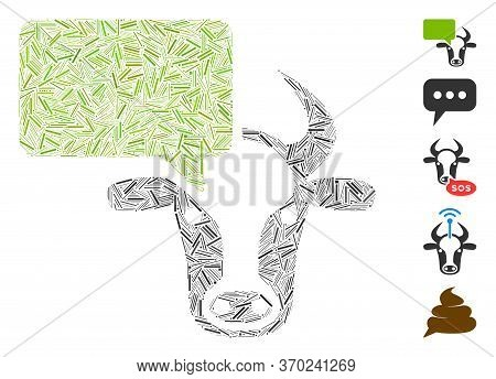 Line Mosaic Based On Cow Opinion Icon. Mosaic Vector Cow Opinion Is Formed With Random Line Spots. B