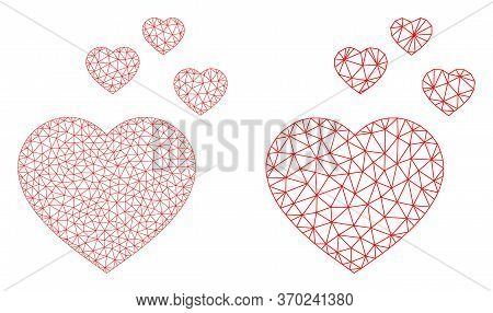 Mesh Vector Favorite Hearts Icon. Mesh Carcass Favorite Hearts Image In Lowpoly Style With Combined