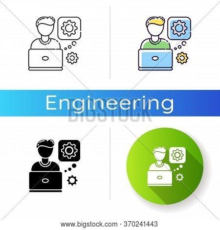 Computer Engineer Icon. Professional Program Developer. Hardware Maintenance Specialist. Modern Tech