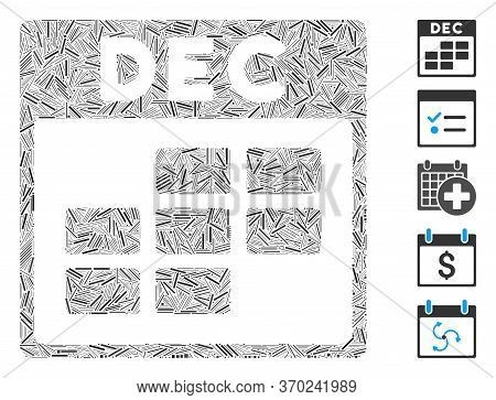 Dash Mosaic Based On December Calendar Grid Icon. Mosaic Vector December Calendar Grid Is Composed W