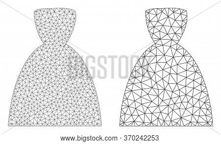 Mesh Vector Female Dress Icon. Mesh Wireframe Female Dress Image In Low Poly Style With Organized Tr
