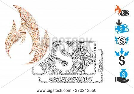 Line Mosaic Based On Dollar Banknotes Fire Icon. Mosaic Vector Dollar Banknotes Fire Is Formed With