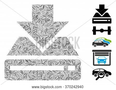 Hatch Mosaic Based On Drive Download Icon. Mosaic Vector Drive Download Is Composed With Scattered H