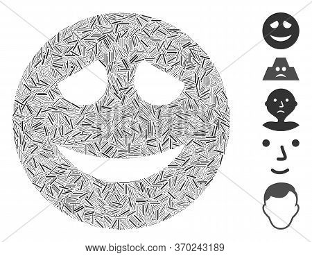 Line Mosaic Based On Embarrased Smiley Icon. Mosaic Vector Embarrased Smiley Is Formed With Random L
