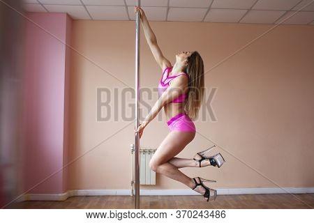 Girl Dances Striptease On A Pylon, Pole Dance Workout, Seductive Erotic Dance